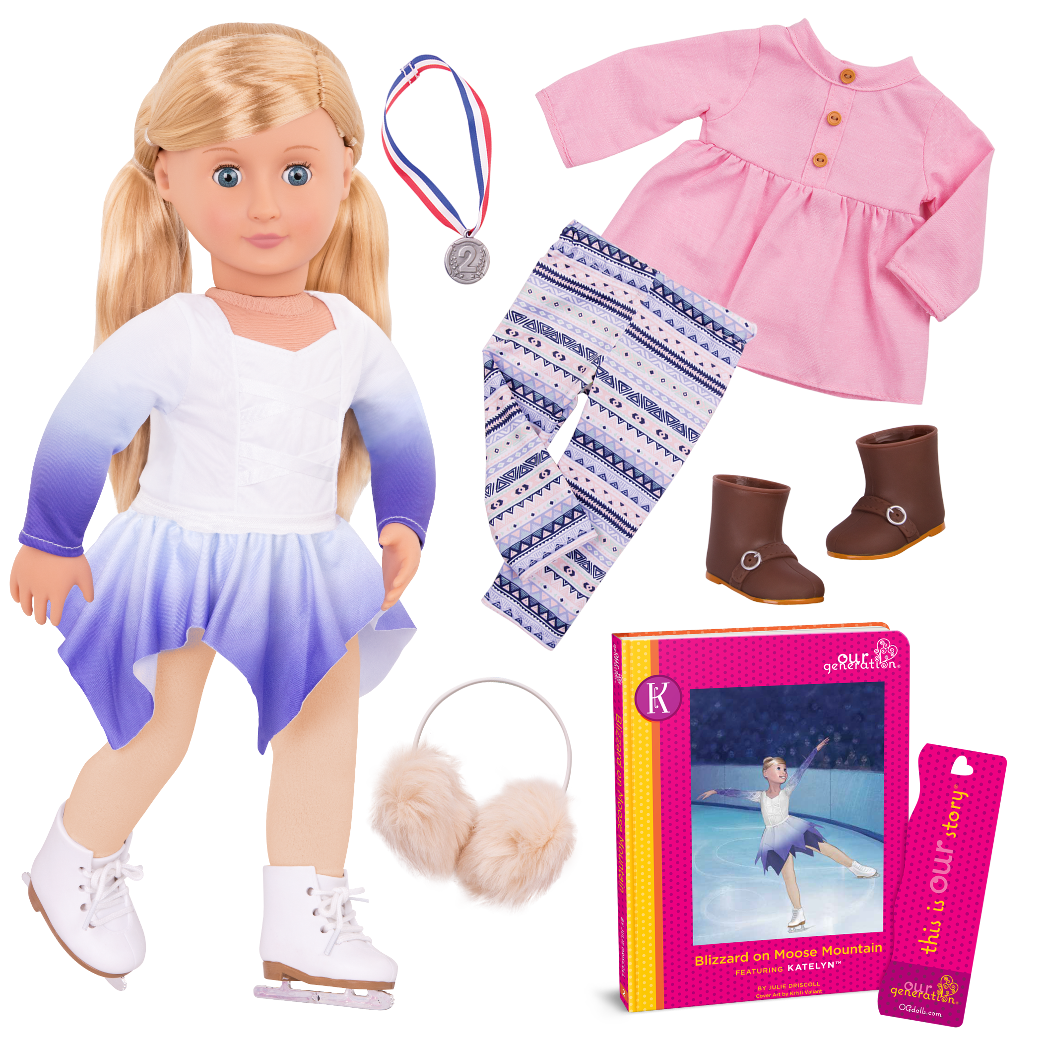 Katelyn Deluxe 18-inch Figure Skater Doll with Book