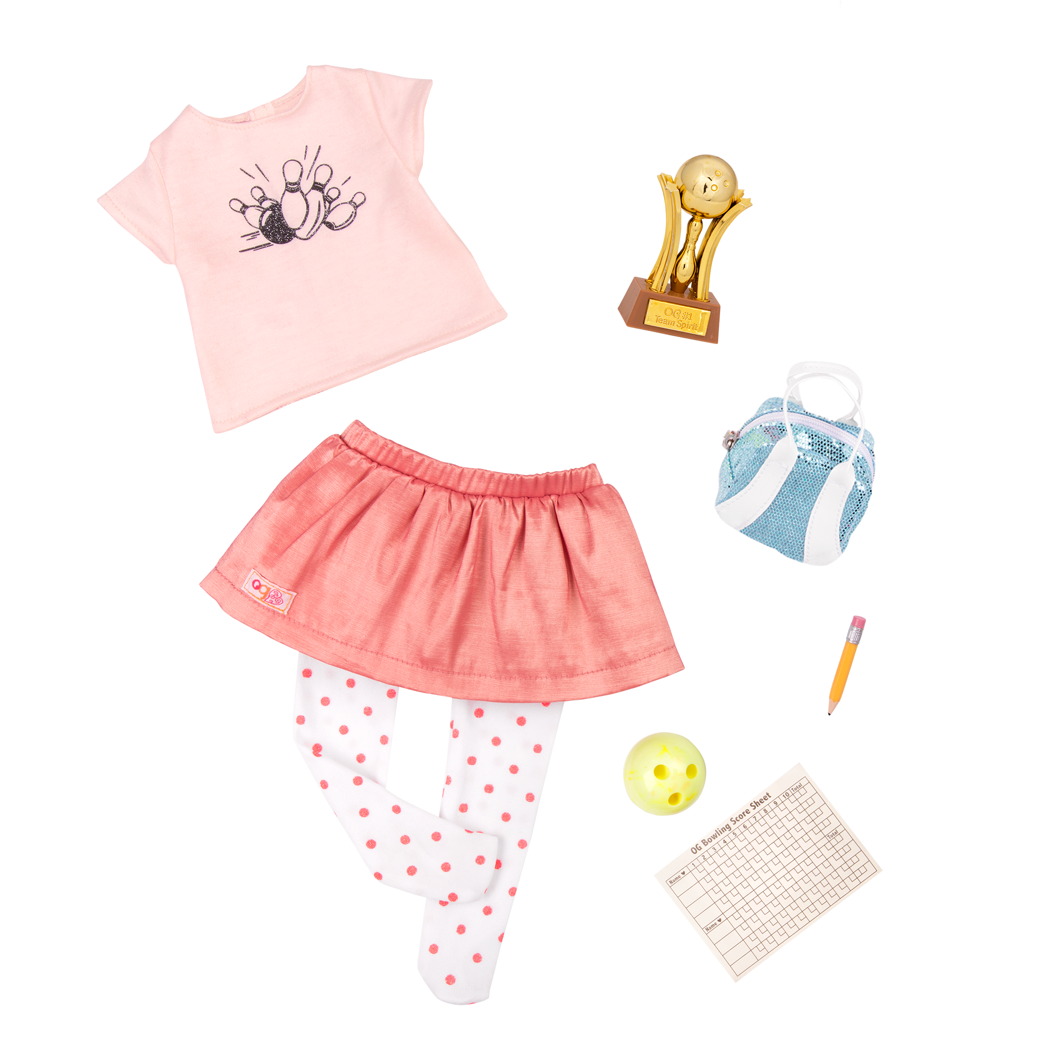 Detail of bowling accessories and casual outfit