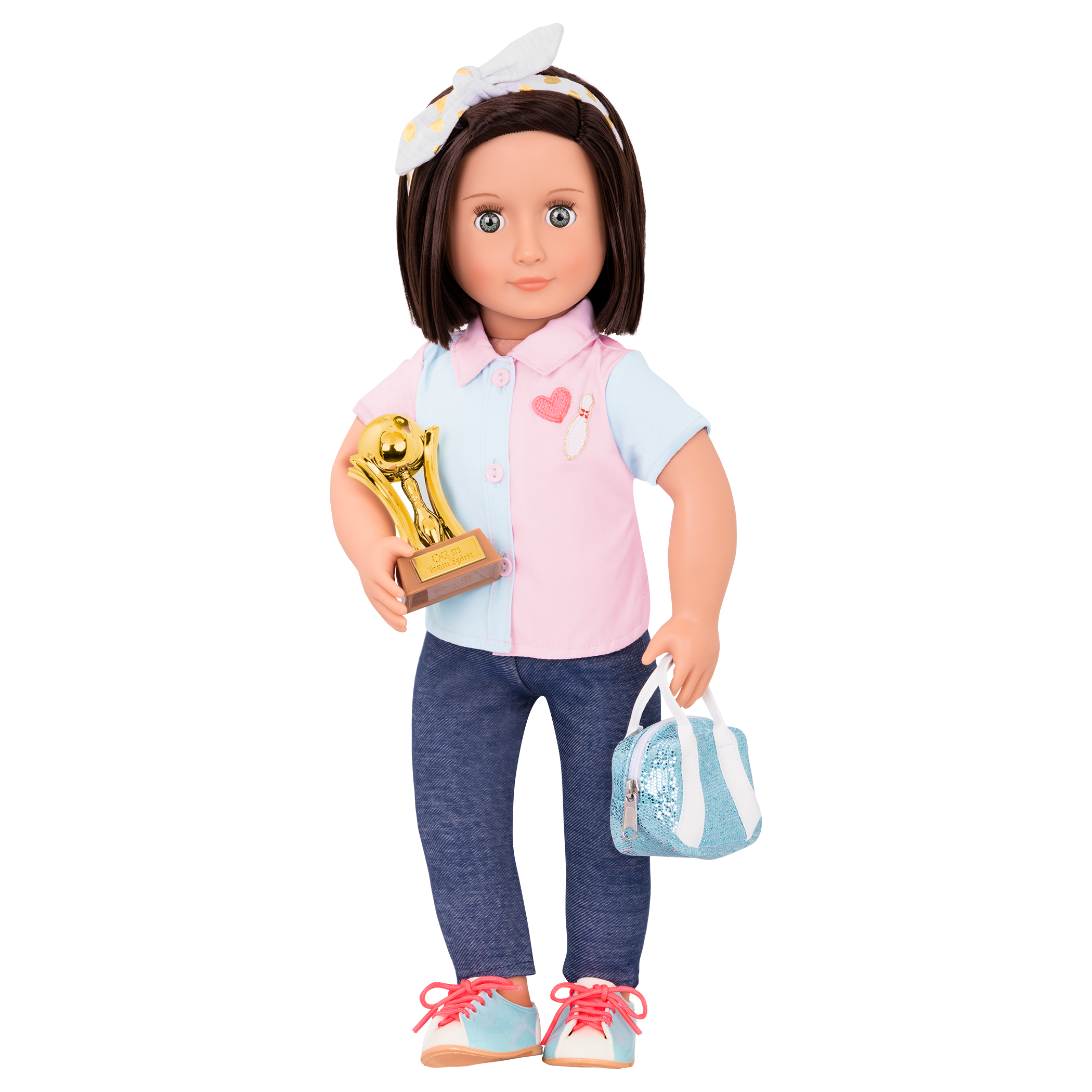 Everly Deluxe 18-inch Bowling Doll wearing uniform
