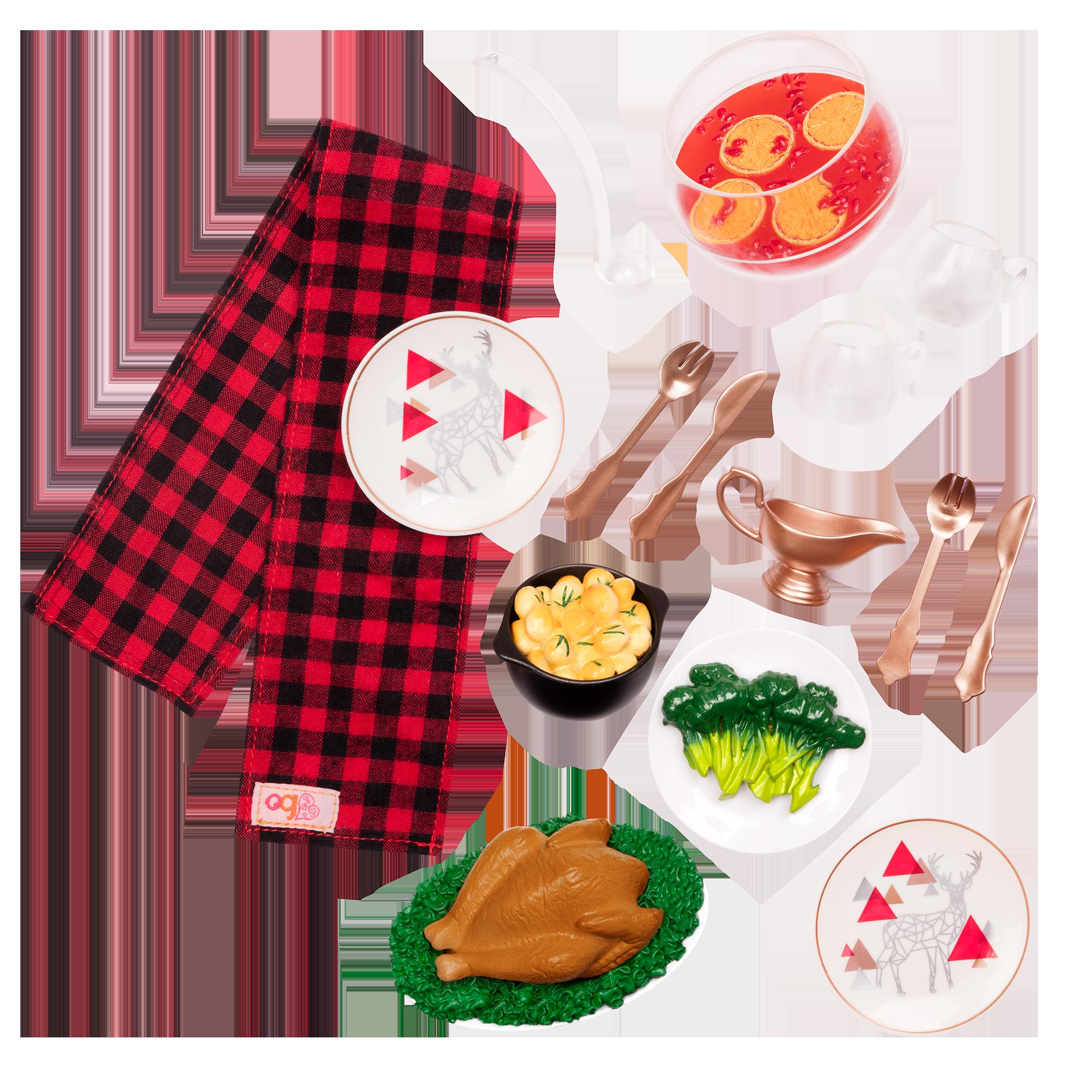 Festive Feast turkey dinner set for 18-inch dolls