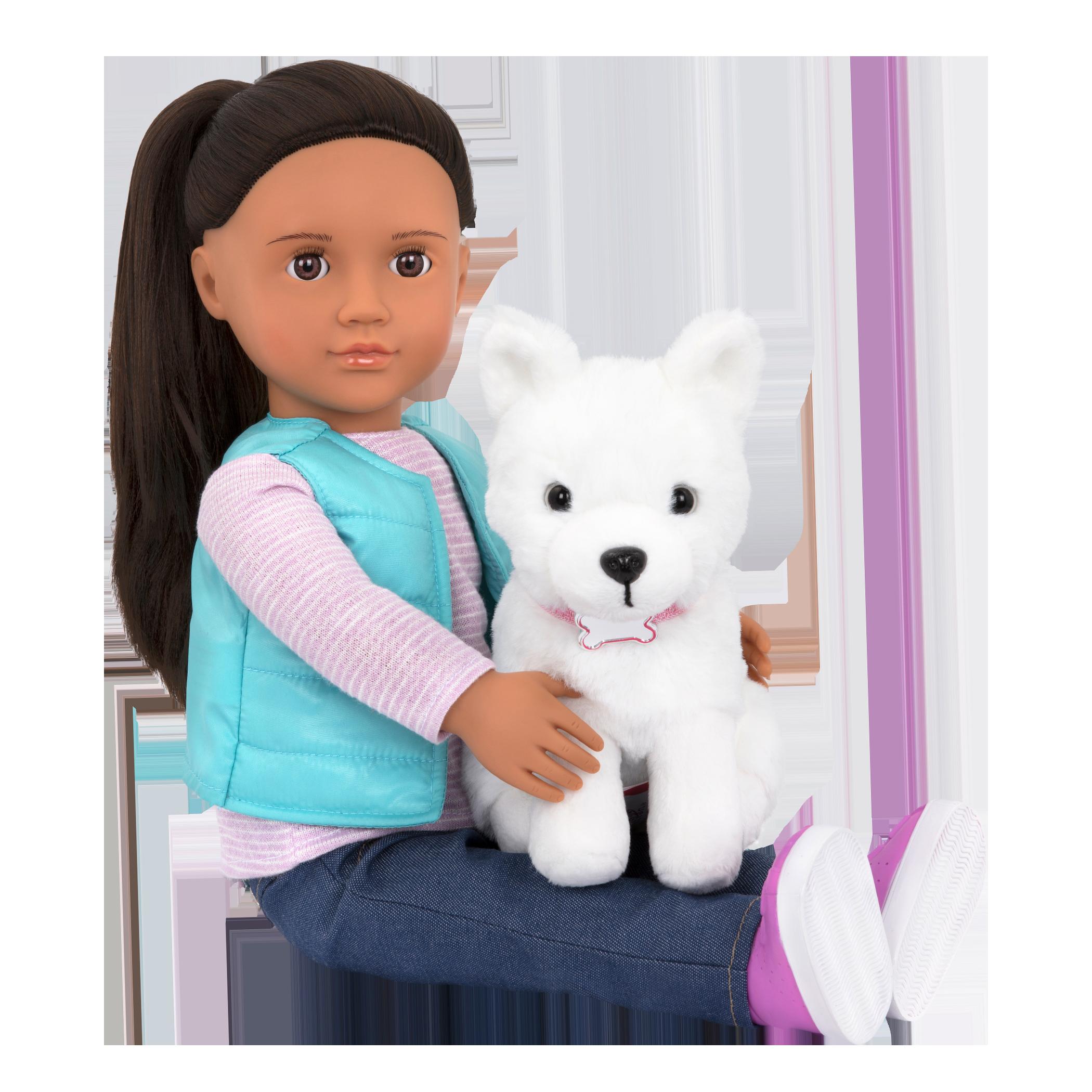 Cassie and Samoyed sitting