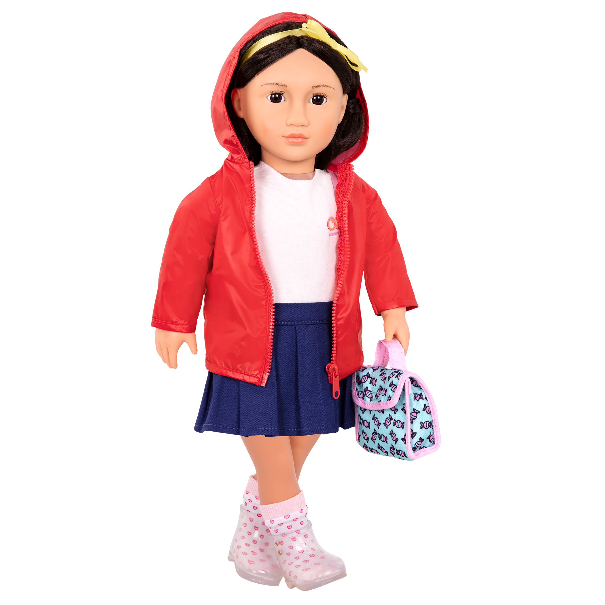 Aiko wearing Rainy Recess School Outfit with hood