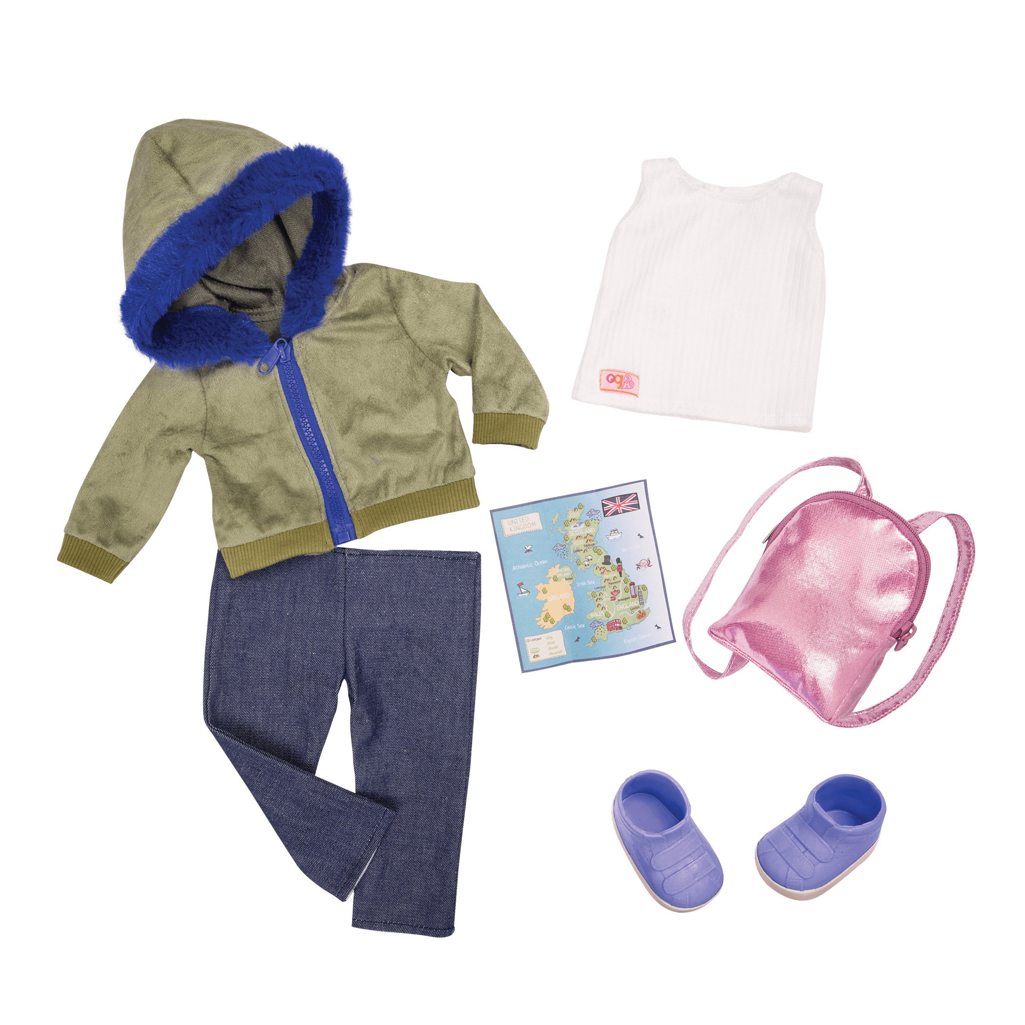 Warm Wayfarer Travel Outfit 18-inch Dolls