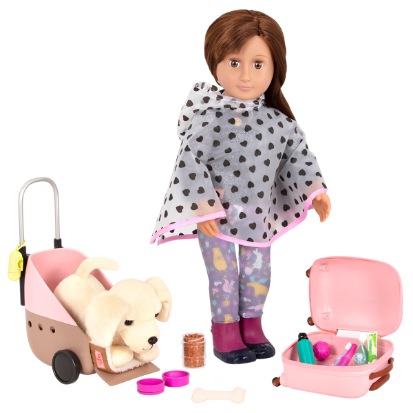 Passenger Pets Travel Accessory with Reese Wearing Poncho