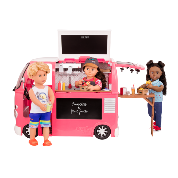 Grill to Go Food Truck Pink Rayna, Macy and Gabe Dolls