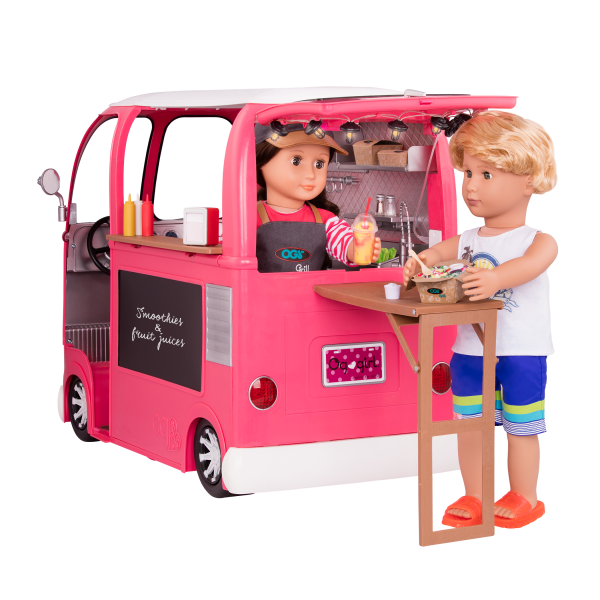 Grill to Go Food Truck Pink with Table for 18-inch Dolls
