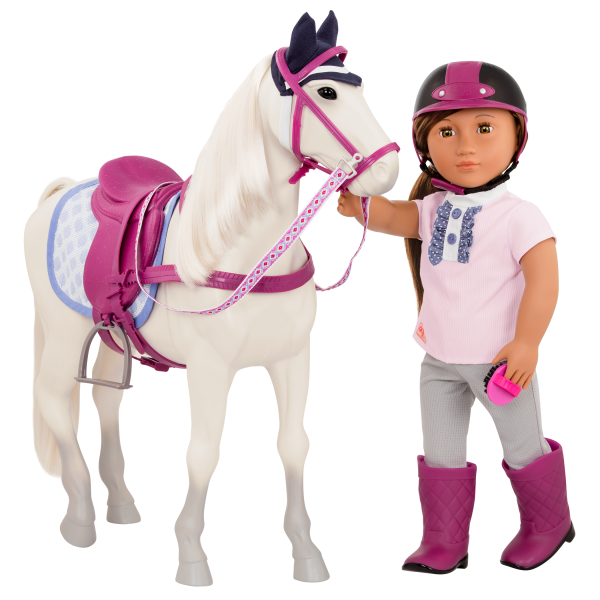 Sterling Gray Horse with Elliana holding ribbon