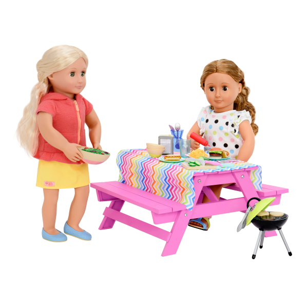 Pink Picnic Table Set for 18-inch Dolls with Ginger and Isa