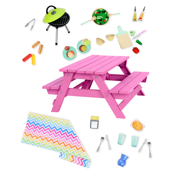 Pink Picnic Table Set for 18-inch Dolls