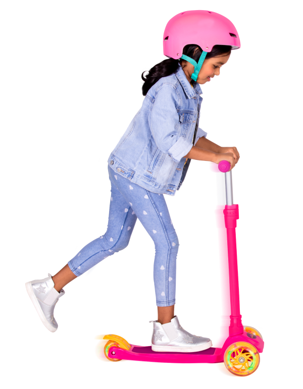 By My Side Scooter for Kids and 18-inch Dolls Light Up Wheels