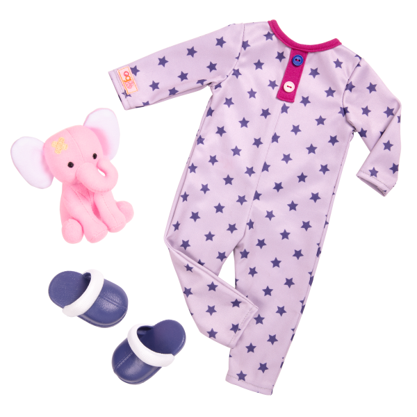 18-inch Sleepover Doll Maria with Pajama Outfit and Elephant Plush Stuffed Animal