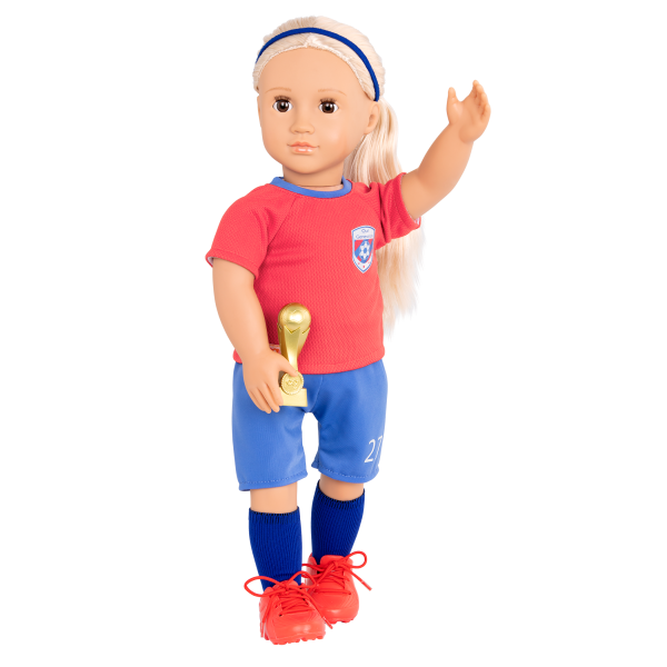 18-inch Soccer Player Doll Dina Blonde with Accessories