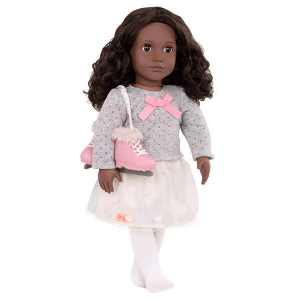 18-inch Ice Skating Doll Demi Black Pink Outfit