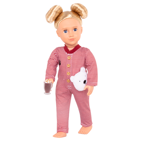 Bear-ly Tired Pajama Outfit Clothes Stripes Accessories Holiday for 18-inch Dolls