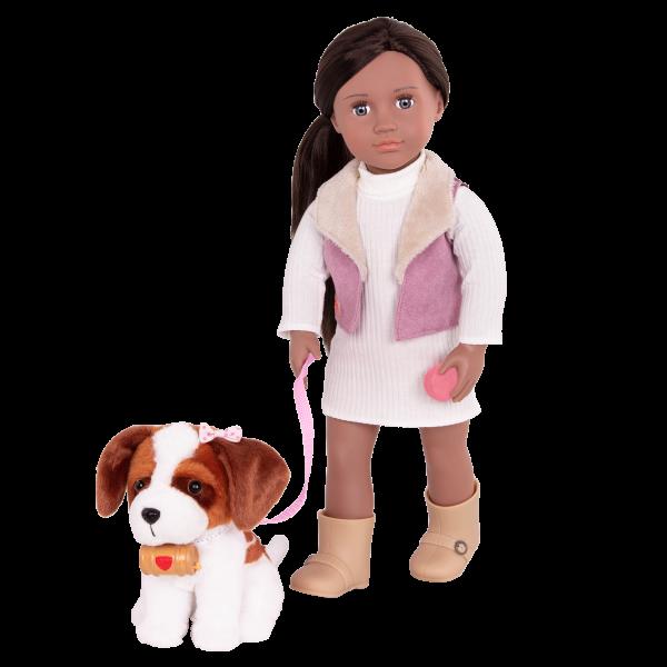 18-inch Doll and Pet Kinzie with Saint Bernard plush dog toy