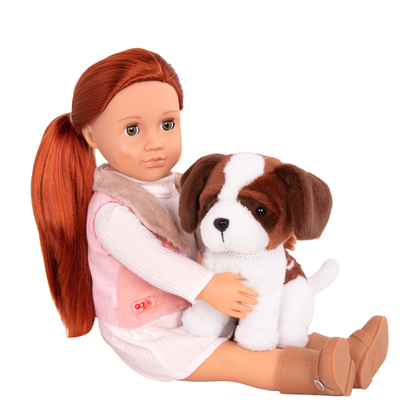 18-inch Doll and Pet Delphia with Saint Bernard plush dog toy