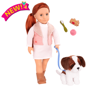 18-inch Doll and Pet Set Delphia & Plush Dog