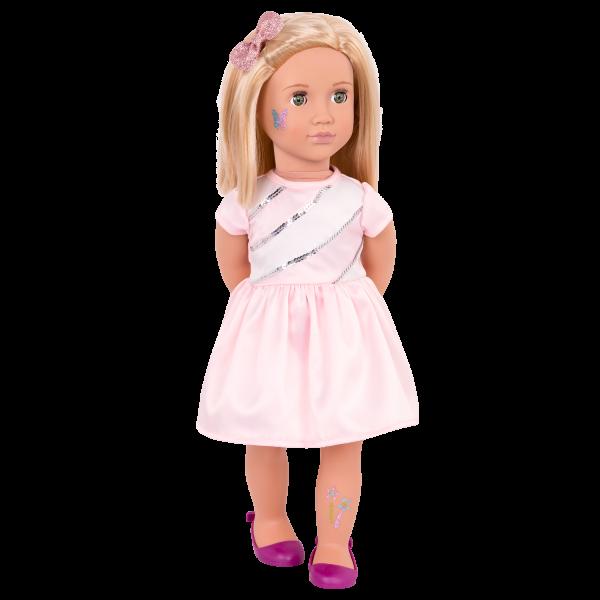 Rosalyn wearing pink dress