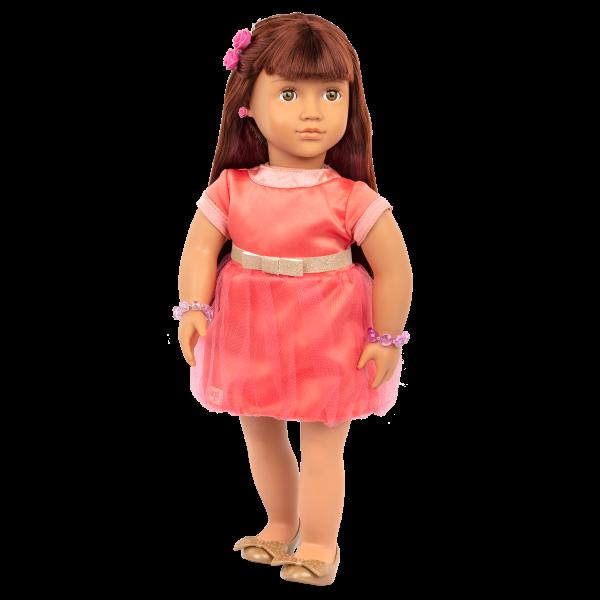 Adelita wearing pink chiffon dress