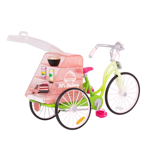 OG Delivery Bike for 18-inch Dolls Play Food Basket