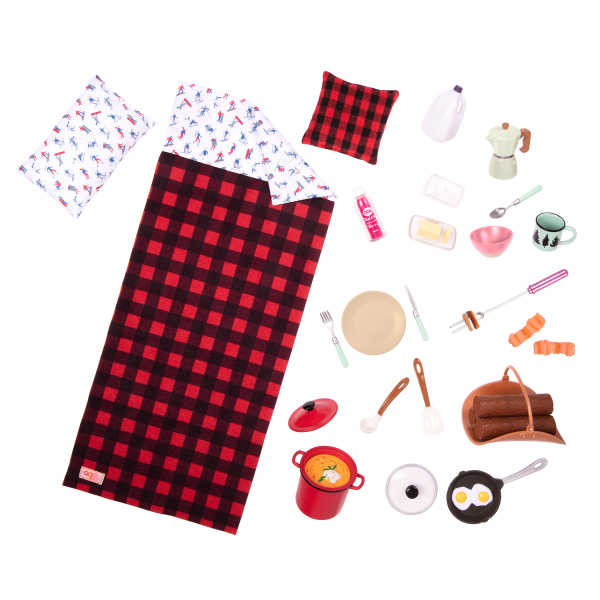Cozy Cabin Dollhouse Playset for 18-inch Dolls Play Food Accessories