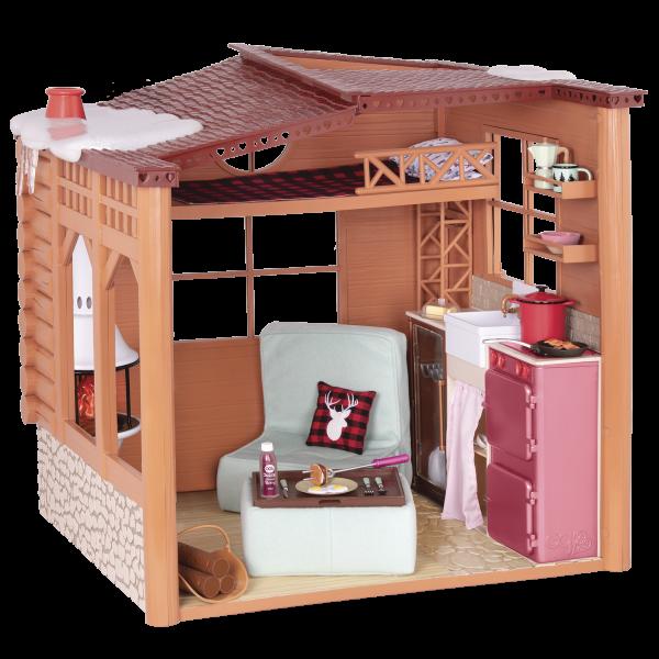 Cozy Cabin Dollhouse Playset Furniture for 18-inch Dolls