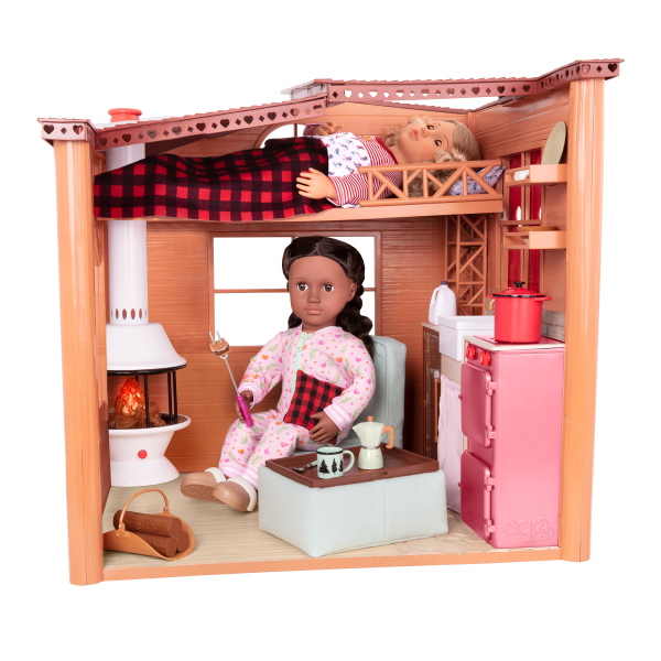 Cozy Cabin Dollhouse Playset with 18-inch Dolls Noelle and Rashida