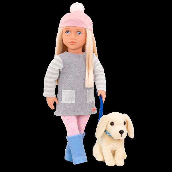 18-inch Doll Meagan & Passenger Pets Travel Set Plush Dog