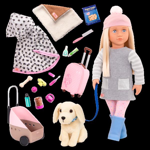 18-inch Doll Meagan & Passenger Pets Travel Set Bundle