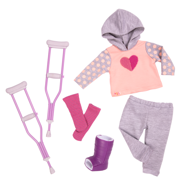 18-inch Doll Martha & Heals On Wheels Crutches Outfit Cast