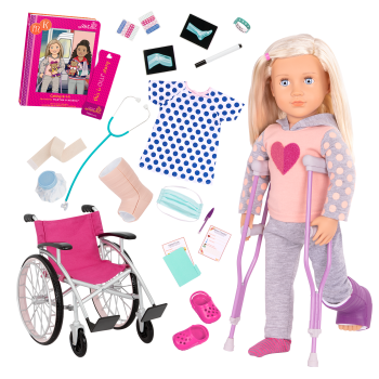 18-inch Doll Martha & Heals On Wheels Bundle Set