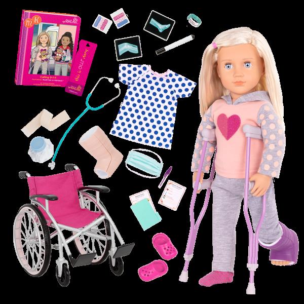 18-inch Doll Martha & Heals On Wheels Bundle Set