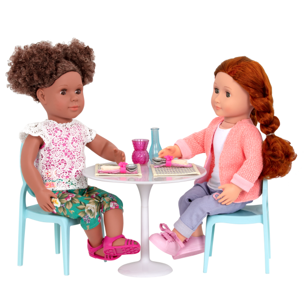 Table for Two Furniture Playset for 18-inch Dolls