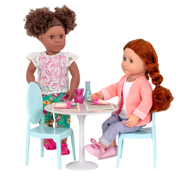 Table for Two Furniture Playset Set for 18-inch Dolls Denelle