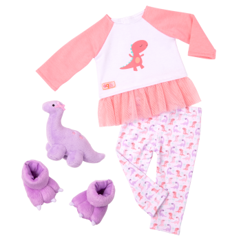 Dream Bright Sleep Tight Dinosaur Pajama for 18-inch Dolls