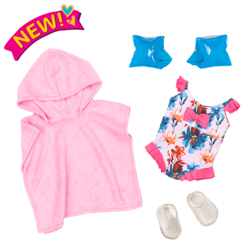 Seaside Blossom Swimsuit Outfit for 18-inch Dolls