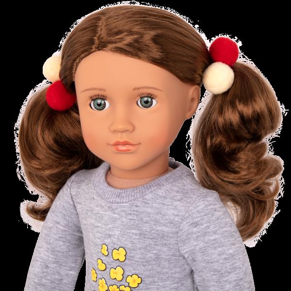 Pop-Pop Top Popcorn Outfit Pom Pom Hair Elastics for 18-inch Dolls