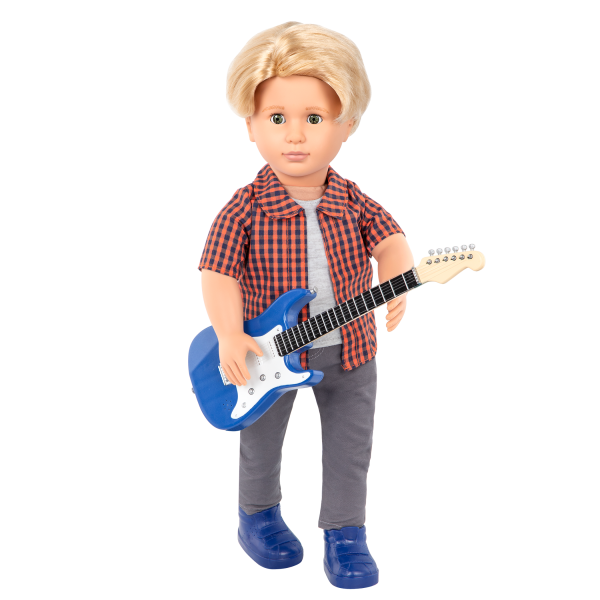 Plaid to Rock Outfit Electric Guitar for 18-inch Dolls
