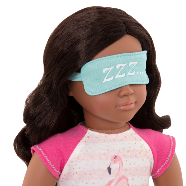 Flamingo Dreaming Pajama Outfit Eye Mask for 18-inch Dolls