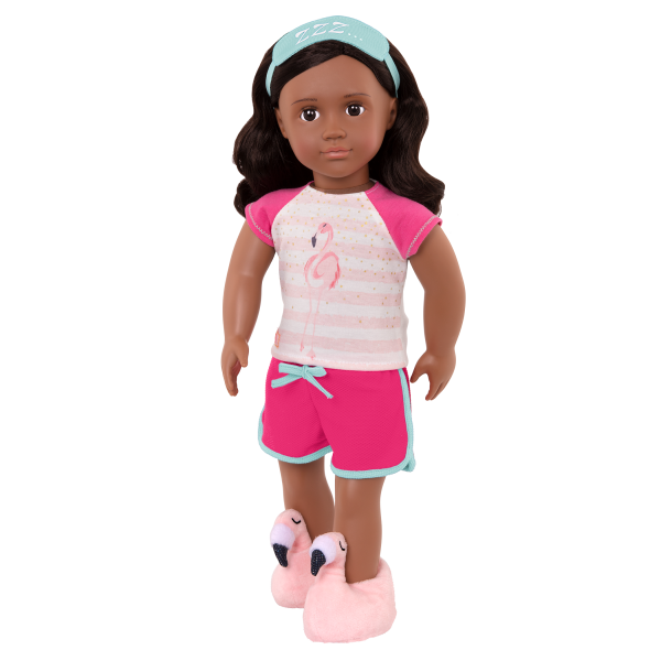 Flamingo Dreaming Pajama Shorts Outfit for 18-inch Dolls