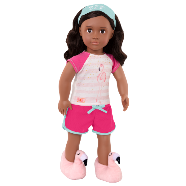 Flamingo Dreaming Pajama Outfit for 18-inch Dolls Pink Slippers