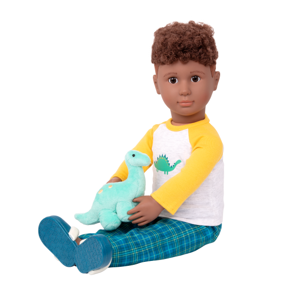 Dino-Snores Pajama Dinosaur Outfit for 18-inch Boy Dolls with Tyler