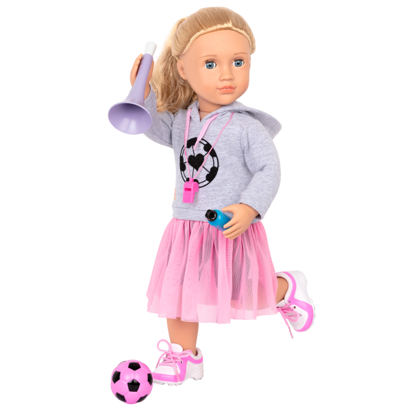 Fashion Goals Soccer Outfit Pink Ball for 18-inch Dolls