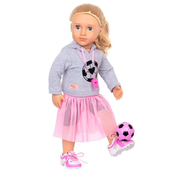 Fashion Goals Soccer Outfit Hooded Sweater for 18-inch Dolls