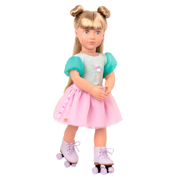 Scoopalicious Ice Cream Outfit Roller Skates for 18-inch Dolls