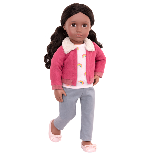 18-inch Posable Travel Doll Aryal Rainbow Top