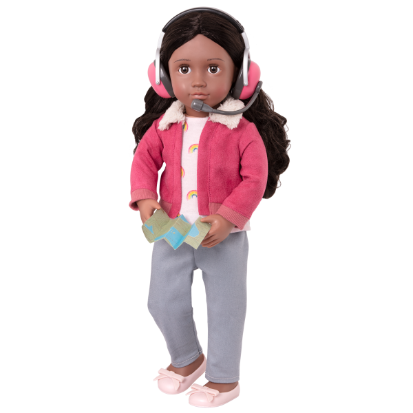 18-inch Posable Travel Doll Aryal Headset