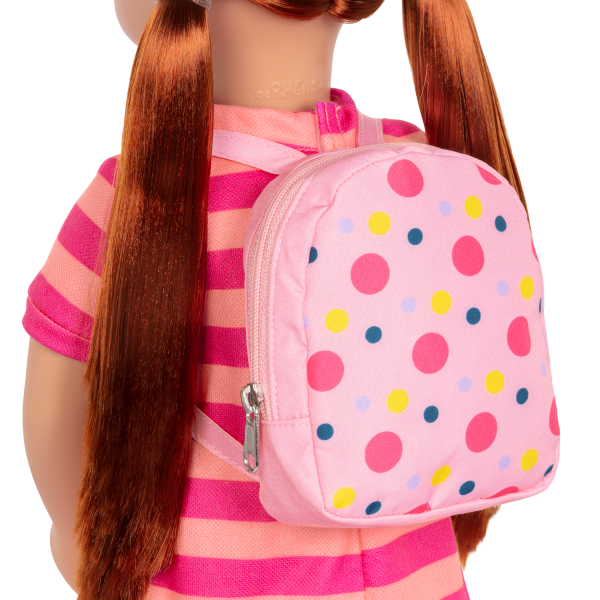 18-inch School Doll Kimmy Pink Backpack