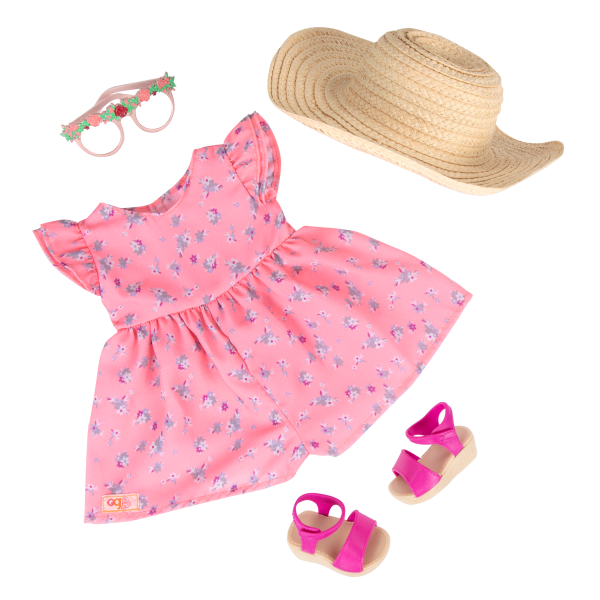 18-inch Doll Dahlia Pink Floral Dress Outfit