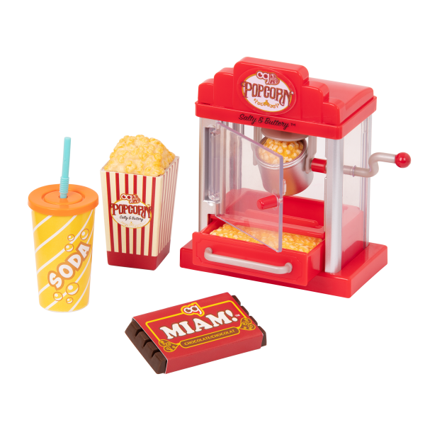 Pop Pop Popcorn Machine Play Food Accessories for 18-inch Dolls